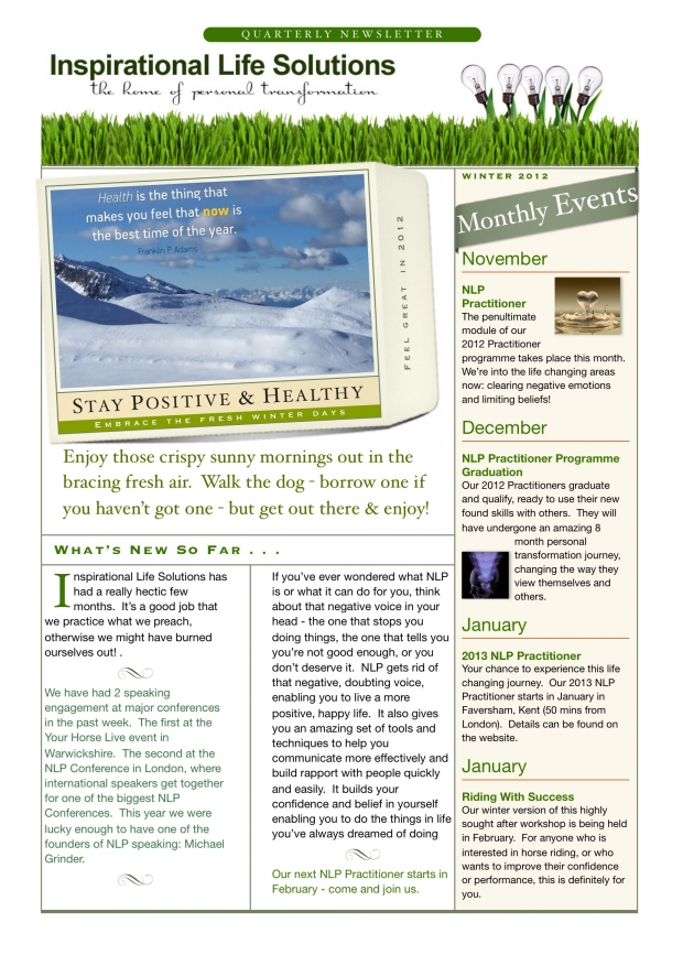 Winter Newsletter Page 1